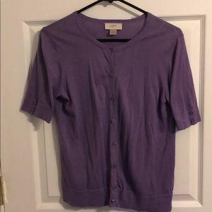 Purple short sleeve LOFT cardigan
